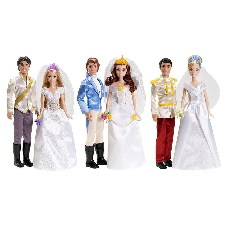 BARBIE DISNEY PRINCESS FAIRYTALE WEDDING GIFT SET BELLA RAPUNZEL CINDERELLA NEW #Dolls