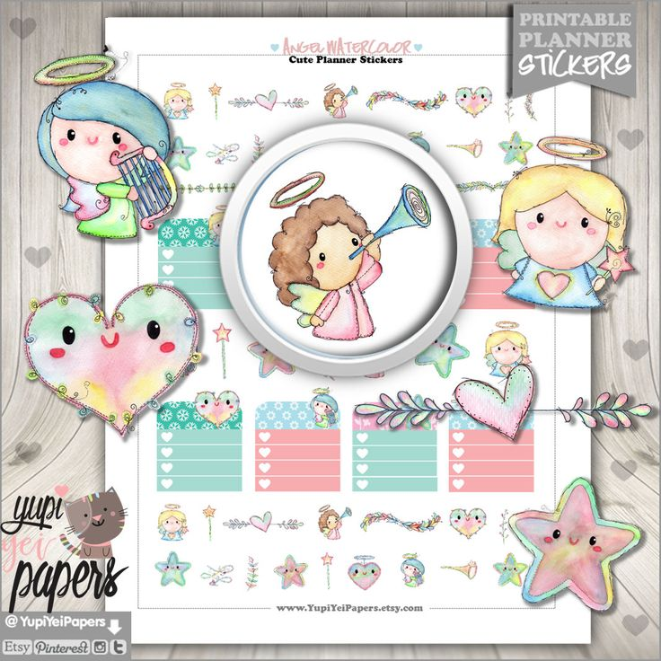 50%OFF - Angel Stickers, Planner Stickers, Angel Planner Stickers, Watercolor Angel, Planner Accessories, First Communion