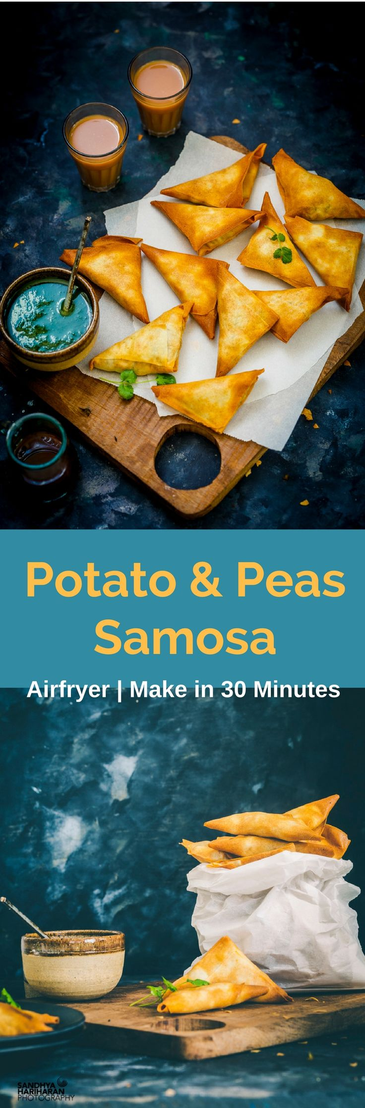 Imagine dunking the hot crispy flaky POTATO AND PEAS SAMOSA in Coriander Chutney and Red Chutney. And when it's healthy and made in Airfryer !! Absolutely Guiltfree isn't it !! Just ditch your takeaway for the day and make them at home. Isn't it exciting!! Did I mention it's no onion no garlic recipe !!