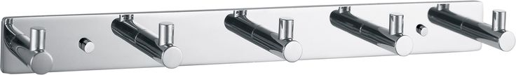 Walther Hook Rail/Coat Rack with 5 Hooks, 12-Inch, Stainless Steel Chrome Plated
