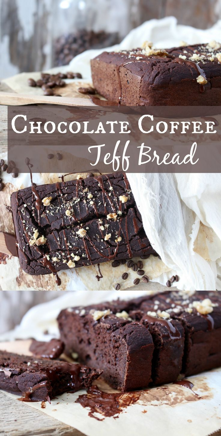 Chocolate Coffee Teff Bread that is #vegan, #glutenfree and made with no refined sugars.  Perfect for a healthy snack!
