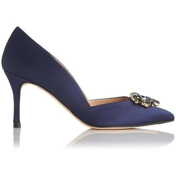 Cristina Navy Satin Closed Courts ($335) ❤ liked on Polyvore featuring shoes, pumps, navy blue satin shoes, navy blue shoes, pointy-toe pumps, navy shoes and clear pointed toe pumps