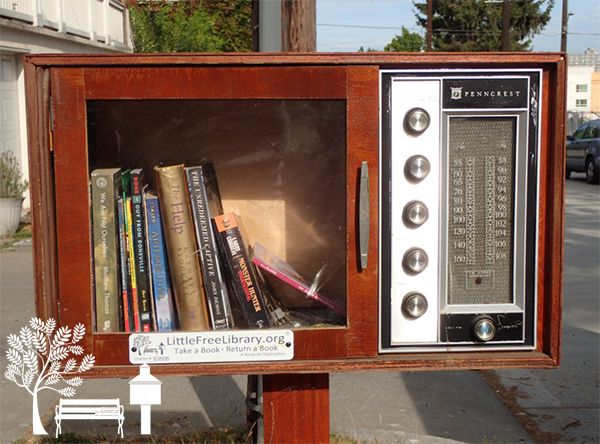 Little Free Library charter #53506 in Seattle, Washington is made out of an old radio! How awesome is that?!