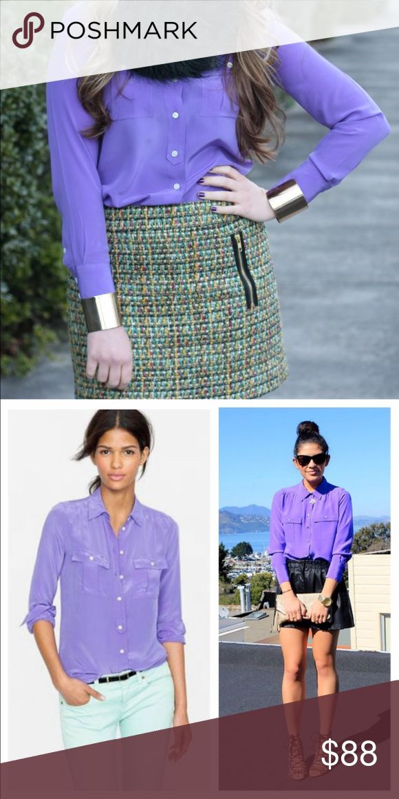 """{J.Crew} Blythe Blouse in Silk • lavender Everyone loves Blythe—a classic army shirt reimagined in drapey and feminine silk crepe de chine, now in a palette of vivid paint-box hues. Dressed up or down, this flattering-on-everyone top is the ultimate in effortless chic. We're sporting ours tucked into sleek pencil skirts for extra polish or languid and loose for that cool-girl look we love.  Tailored fit. Silk crepe de chine. Body length: 26 1/4"""". Long sleeves. Functional buttons at cuffs…"""