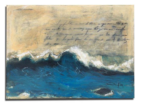 peinture peinture poème océan par DanielleRoyStudio sur Etsy
