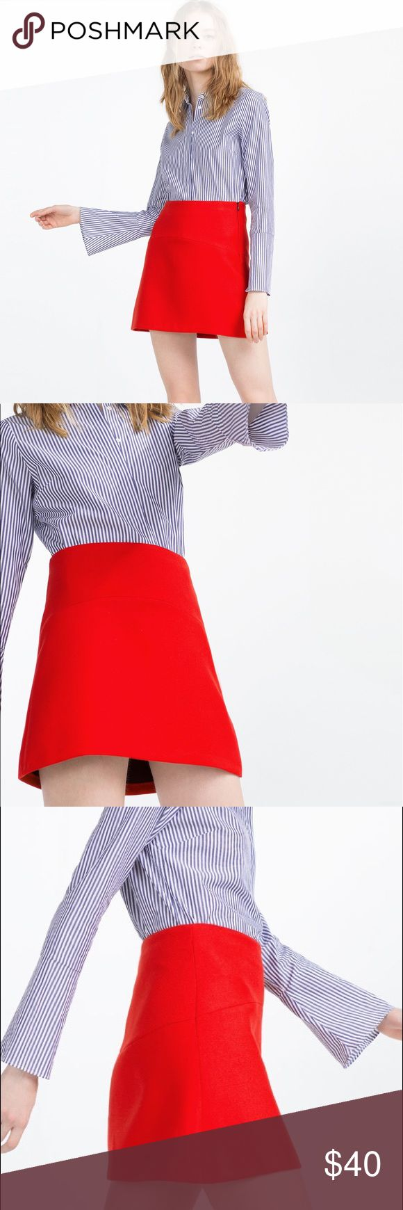 Zara Red Mini Skirt NWT - brand new and never been worn!                                          Feel free to make an offer😊 Zara Skirts Mini