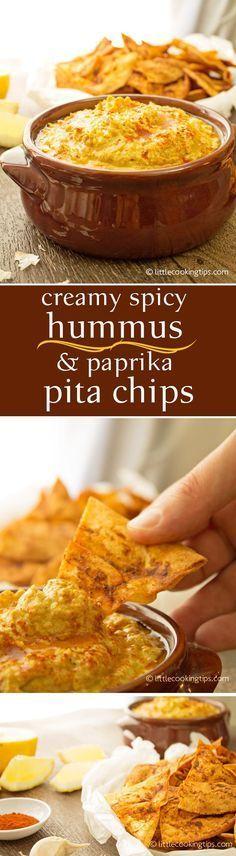 Creamy Spicy Hummus and Paprika Pita Chips. A Greek yogurt no-tahini hummus recipe, enhanced with turmeric and garam masala. Served with easy crunchy paprika pita chips. #hummus #pita #chips #yogurt