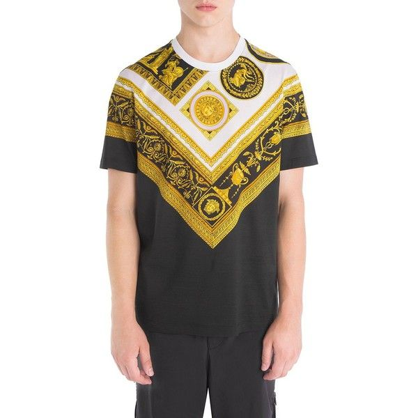 Versace Archives Frames Print Cotton T-Shirt ($695) ❤ liked on Polyvore featuring men's fashion, men's clothing, men's shirts, men's t-shirts, mens patterned shirts, mens crew neck t shirts, men's cotton short sleeve shirts, mens short sleeve t shirts and versace mens t shirt