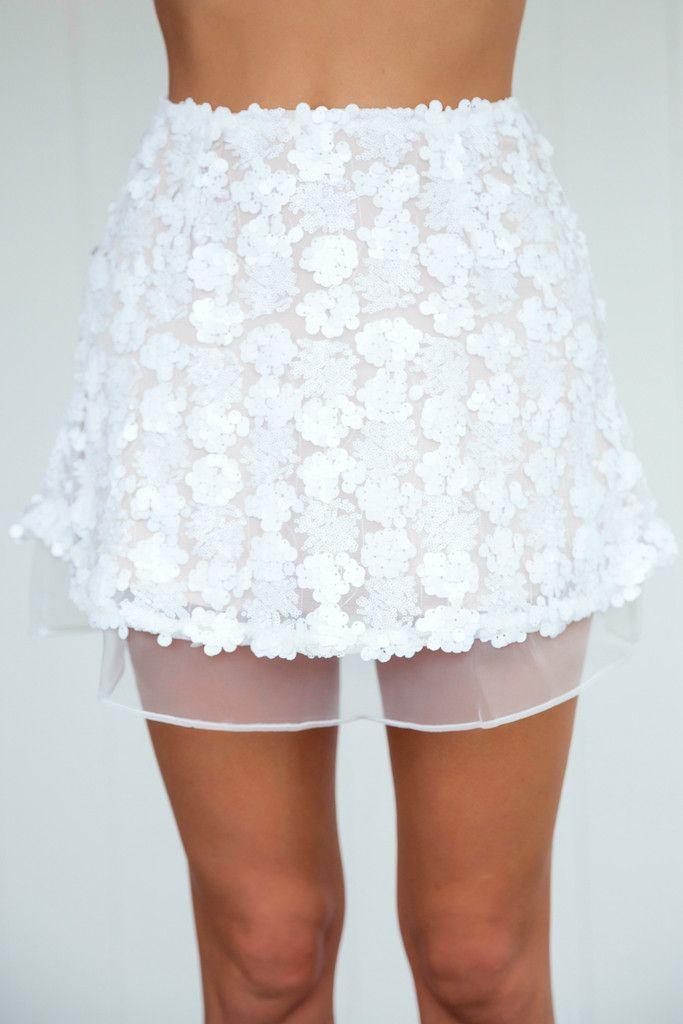 Angel Biba - Friday Night Fever 2.0 Skirt (Nude/White)