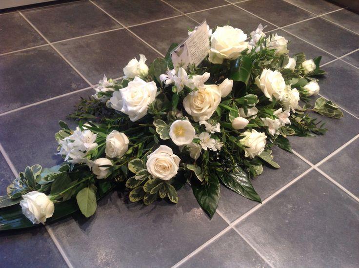 White rose coffin spray