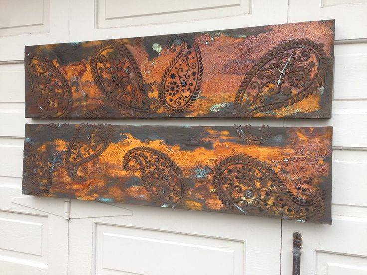 """Industrial paisley!"" Canvas using Modern Masters Metal Effects Iron Paint and Rust activator 