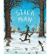 """Stick Man lives in the family tree With his Stick Lady Love and their stick children three."" But it's dangerous being a Stick Man. A dog wants to play with him, a swan builds her nest with him. He even ends up on a fire! Will he ever get back to the family tree?"
