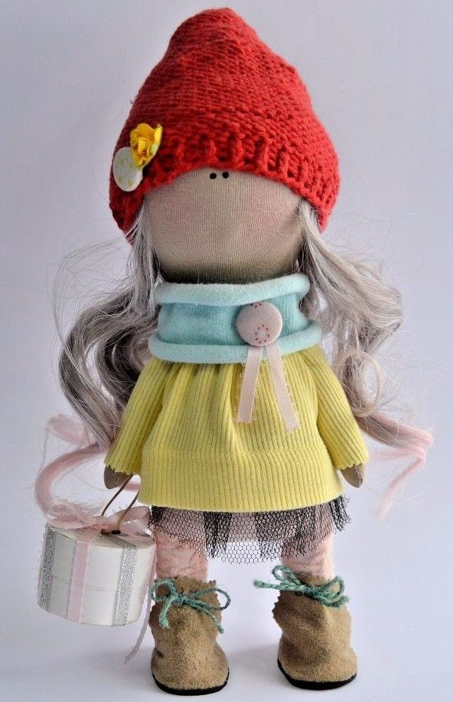 Textile doll interior stylish blonde red cap girl artist clothes dress size 11in #handmade