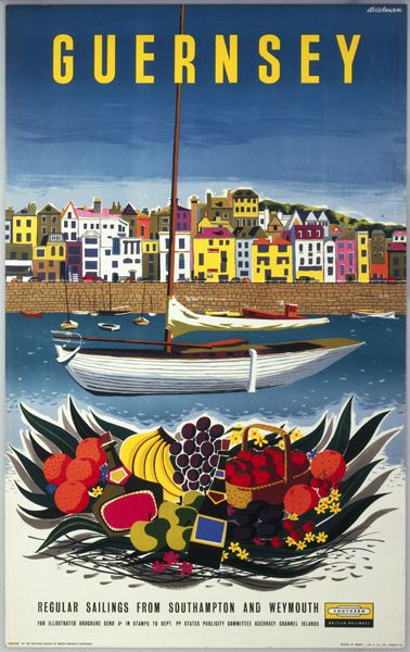 Vintage Travel Poster -Guernsey -  by Adelman - 1958.