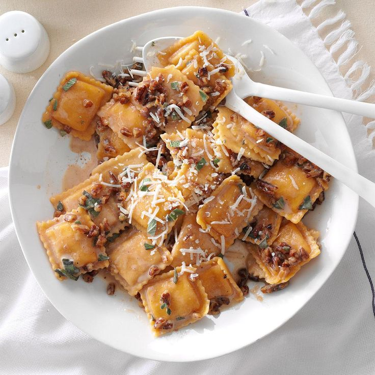 Sage-Pecan Butternut Squash Ravioli Recipe -I am addicted to this ravioli recipe. The sauce is incredible with any…