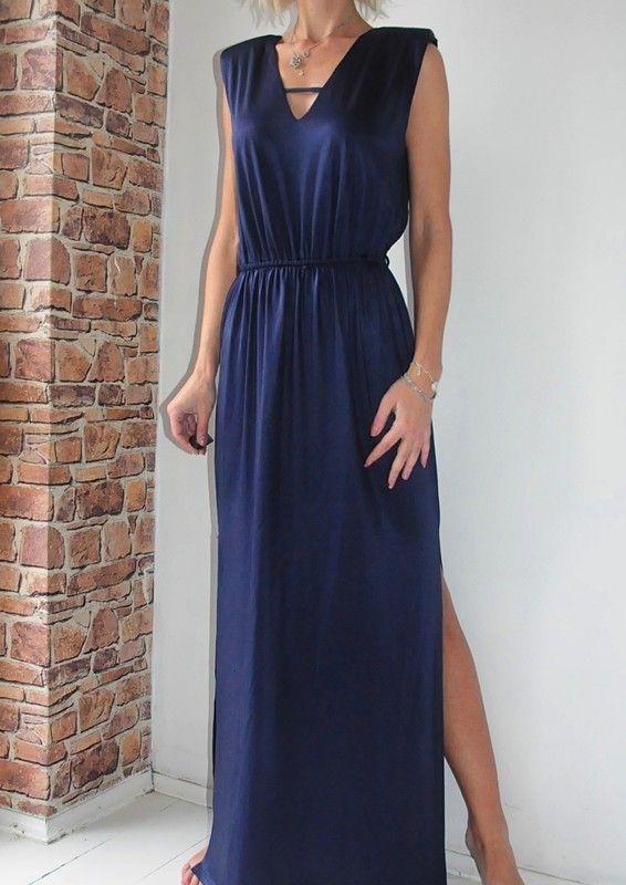 039c8ad3556940 River island sukienka granatowa maxi rozporki 38 - vinted.pl | dress ...