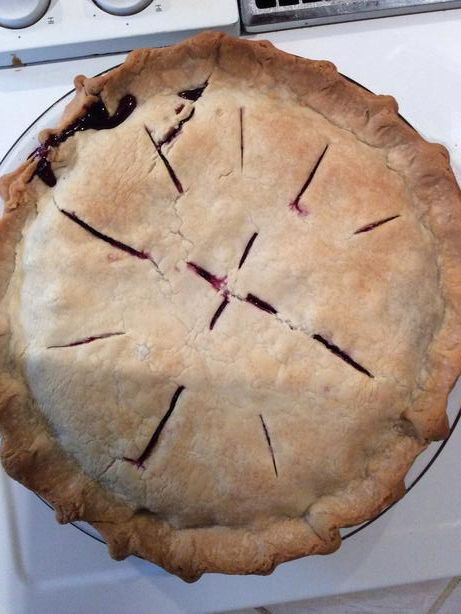 Huckleberry pie - Such a great use of our hard picked berries.  6 T corn starch, 5 T flour instead of tapioca