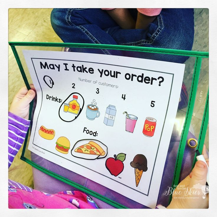 Restaurant Play to encourage writing, speaking, and listening skills! Dramatic play in kindergarten is a fun way to encourage fun in learning.