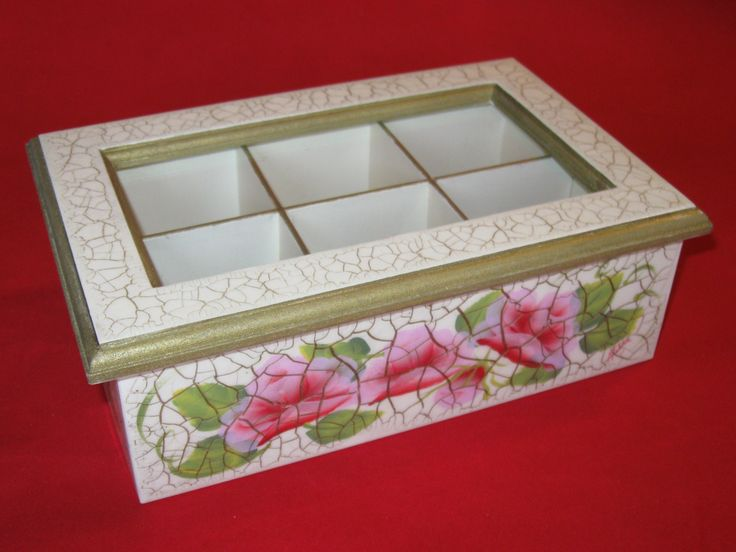 Caja de t craquelada x 6 divisiones con vidrio pintada a - Cajas decoradas a mano ...
