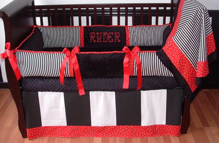 Red And Black Baby Boy Crib Bedding Sets