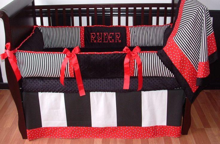 Red And Black Baby Boy Crib Bedding Sets