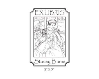 mary cassatt rubber stamps | Young Mother Sewing by Mary Cassatt Custom Bookplate Rubber Stamp I14