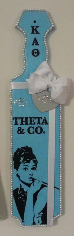 Kappa Alpha Theta paddle I made for one of my Littles. She is classy, fabulous, and Southern so her paddle had to be the same: Tiffany's, pearls, glitter, and our monograms in rhinestones.