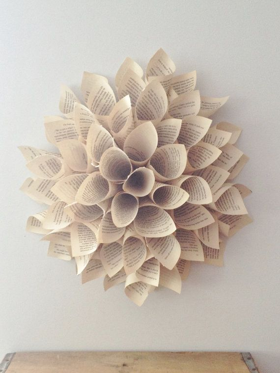 Paper Dahlia - Wall Hanging - Paper Wreath - Vintage Paper Wall Decor - Shabby Chic