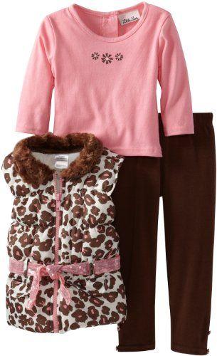 Little Lass Baby-Girls Infant 3 Piece Leopard Print Puffy Vest Set - List price: $44.00 Price: $8.80 Saving: $35.20 (80%)  #LittleLass