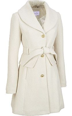 Jessica Simpson Wool Basket Weave Shall Collar Trench - #WilsonsLeather
