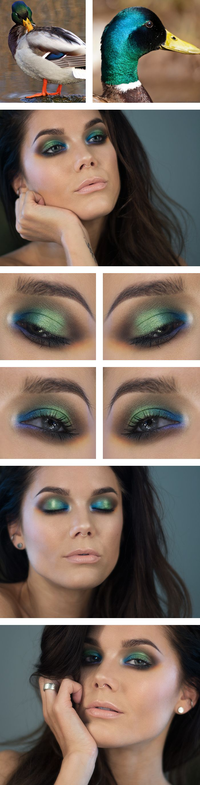 "Today's Look : ""Inspired by...""-Linda Hallberg (Gorgeous greens, teals and blues on the eyes, and a beautiful nude lip... MAC Japanese Maple to be exact...) 04/25/14"