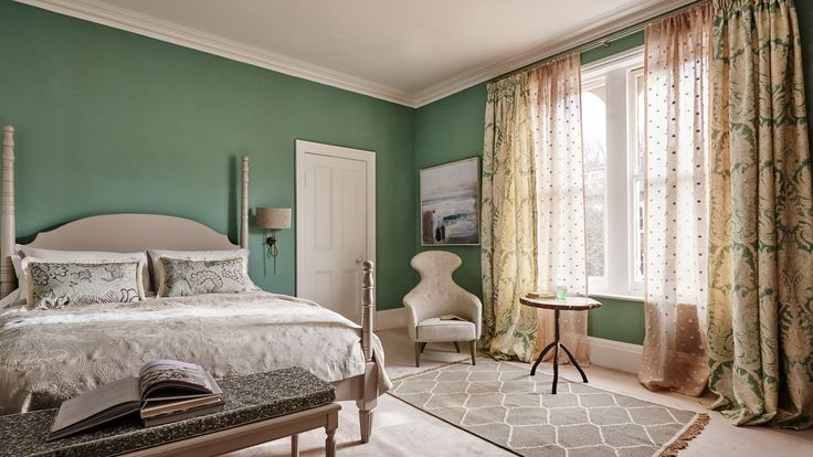 Traditional Bedroom with Sage Green Walls