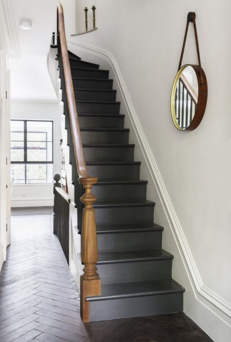 Charcoal staircase - looks great... though the dusty footprints!