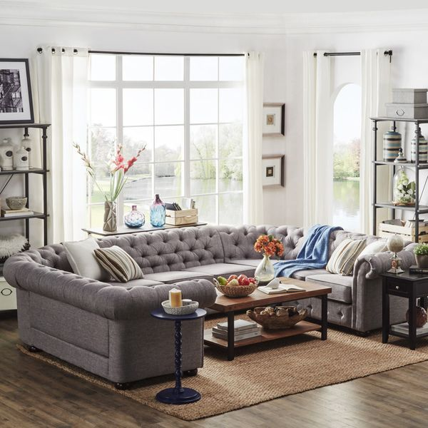 SIGNAL HILLS Knightsbridge Tufted Scroll Arm Chesterfield 9-Seat U-Shaped Sectional