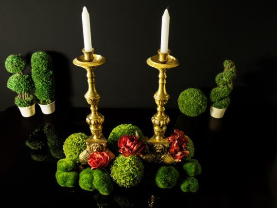 """Antique French Brass Candle Holders Lion Head Foot Candle Sticks 17""""  Pair Gold Hollywood Regency Glam"""