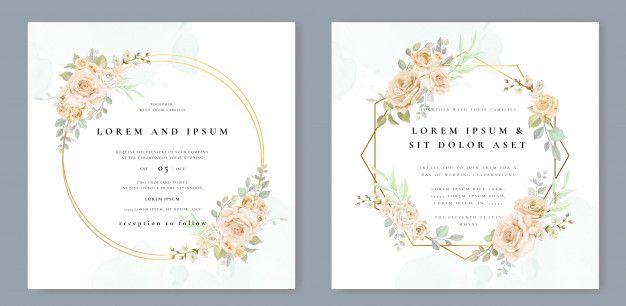 Wedding Invitation Card With Beautiful F Free Vector Freepik