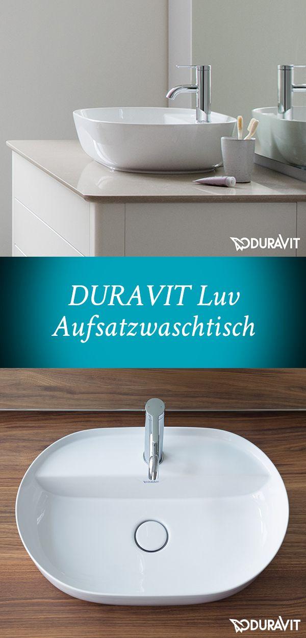 Duravit Luv:  Der Aufsatzwaschtisch präsentiert sich in klaren, ovalen Formen und ist Blickfang eines  jeden Waschplatzes in zeitgemäßem Design. Ein filigraner Rand umschließt das großzügige Becken: viel Platz für das gründliche Händewaschen. Praktisch: Auf der integrierten Hahnlochbank lassen sich wunderbar Seife und andere Badutensilien griffbereit ablegen. #waschtisch #aufsatzwaschtisch #waschbecken #duravit #luv #bad #badezimmer #händewaschen #wasserlauf #wasser #reuter #reuterde