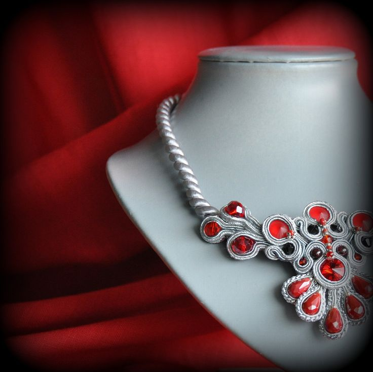 Red&Silever necklace #handmade #soutache