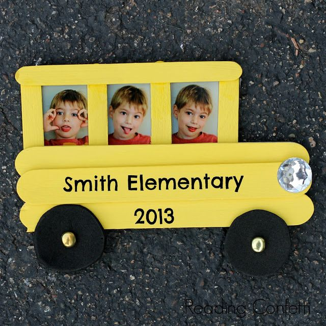 This craft stick school bus frame is easy for kids to make and a fun way to celebrate back to school.