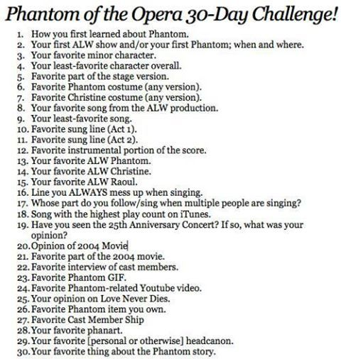 Image result for phantom of the opera 30 day challenge