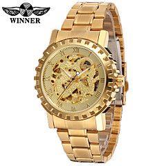 WINNER+Homens+Relógio+Casual+Relógio+de+Moda+Relógio+de+Pulso+Automático+-+da+corda+automáticamente+Gravação+Oca+Aço+Inoxidável+Banda+–+BRL+R$+123,00