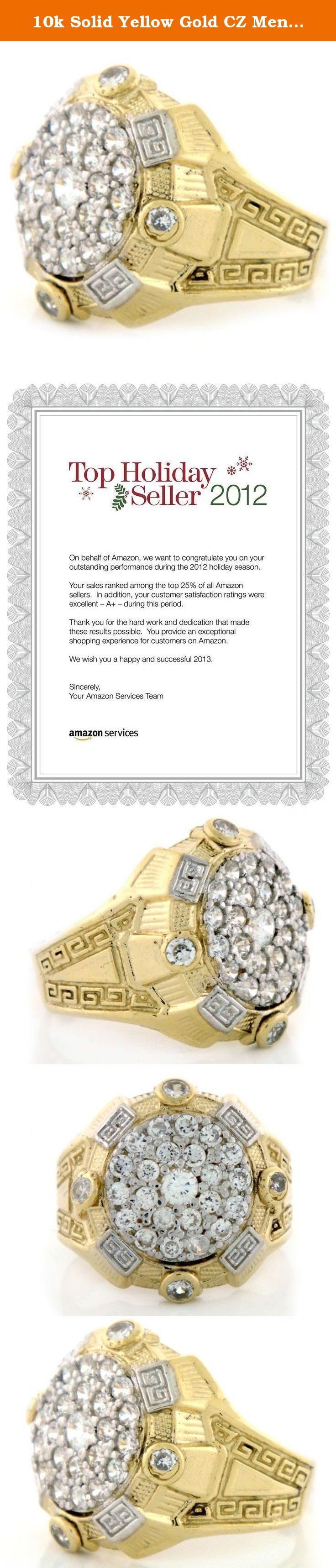 10k Solid Yellow Gold CZ Mens Cluster Roman Design Ring. 10k Solid Yellow Gold CZ Mens Cluster Roman Design Ring - Jewelry Liquidation Number: R0T1891ZW0-1300 - Size 13.00.