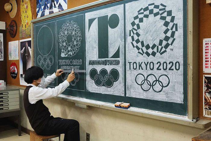 Олимпийские игры в Токио 2020. Рисунок мелом Hirotaka Hamasaki.