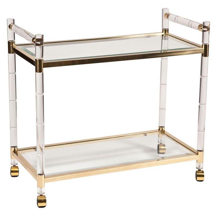 Unique Brass Bamboo Bar Cart