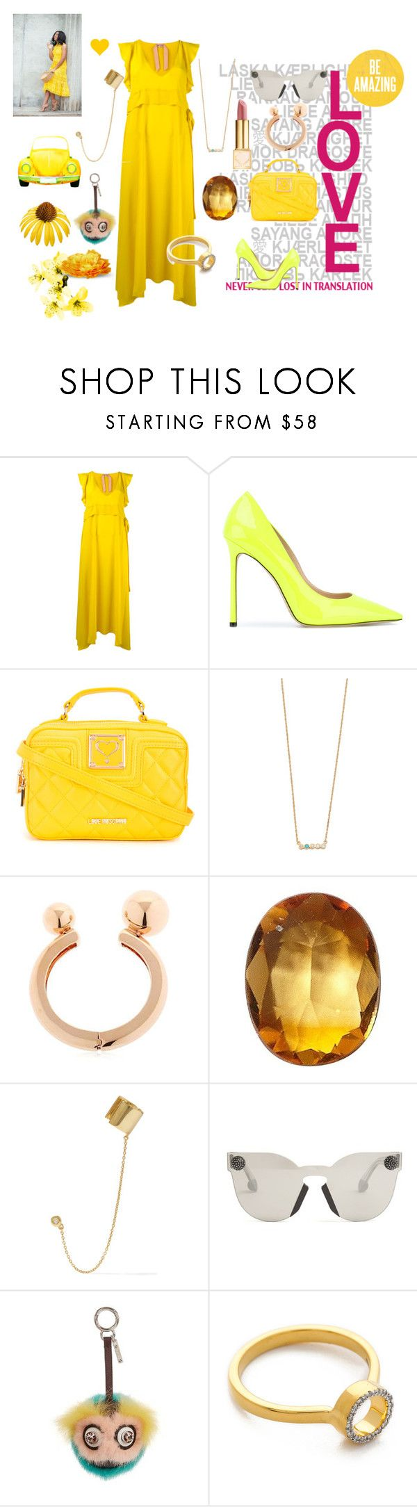 """Yellow fashion"" by jamuna-kaalla ❤ liked on Polyvore featuring Jimmy Choo, Love Moschino, Jennifer Zeuner, Mawi, Loquet, Aamaya by Priyanka, Christopher Kane, Fendi, Monica Vinader and vintage"