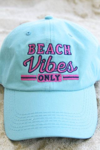 "NEW! ""Beach Vibes Only"" Lagoon Blue Baseball Cap - Perfect for days at the beach! Get yours now online at WWW.JADELYNNBROOKE.COM"