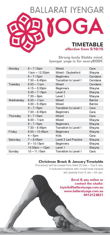 #ballaratyoga Timetable effective from October 5.