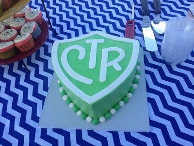 Sara Elizabeth: Custom Cakes. CTR shield cake. Great idea for baptisms! Buttercream with fondant details. CTR cake