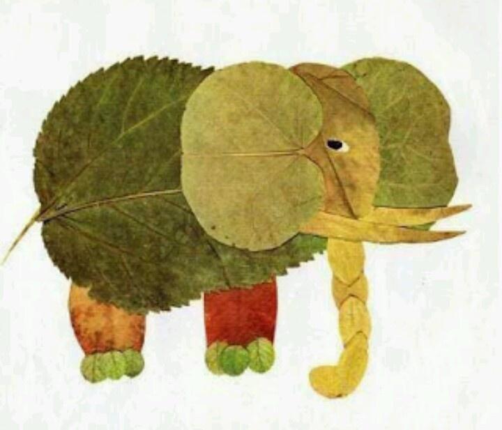 Gedroogde herfstbladeren - Olifant. Ook leuk om bijv. een masker te laten maken. #schoolfotografie #fun