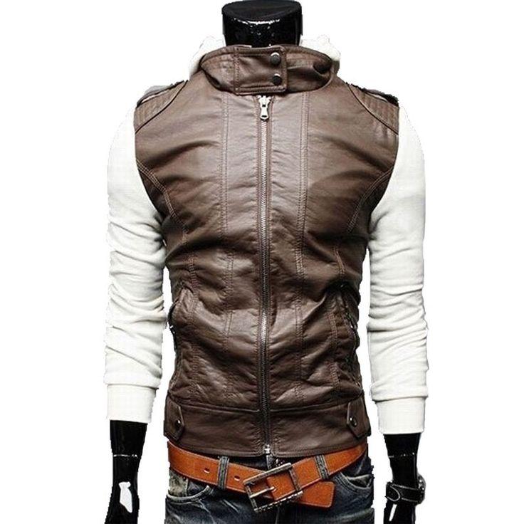 Новое поступление! 2015 горячая распродажа мужская с капюшоном кожа пальто из PU ; кожаная куртка с ; отдых и мода мужская пальто